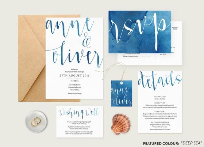 Watercolour Wedding Invitation Set