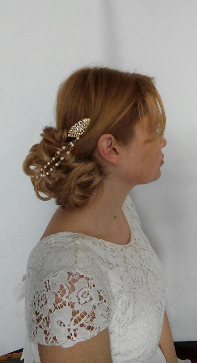 art deco hair chain art deco hair pearls, bridal hair chain
