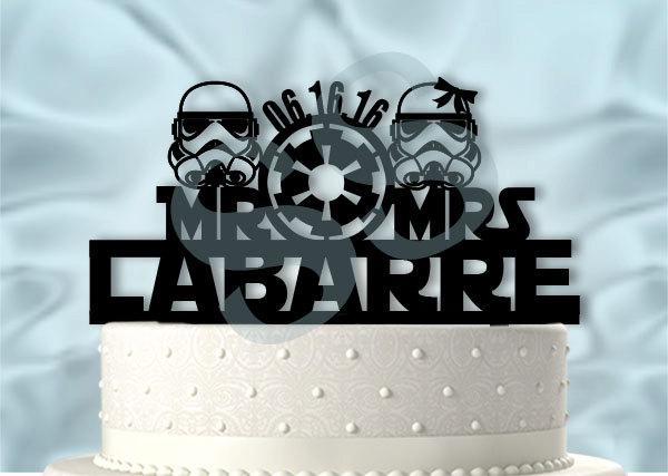 Star Wars Wedding Mr Ans Mrs Storm Troopers With Name And Date Star     Star Wars wedding Mr ans Mrs Storm Troopers With Name and Date Star Wars  Inspired Wedding Cake Topper