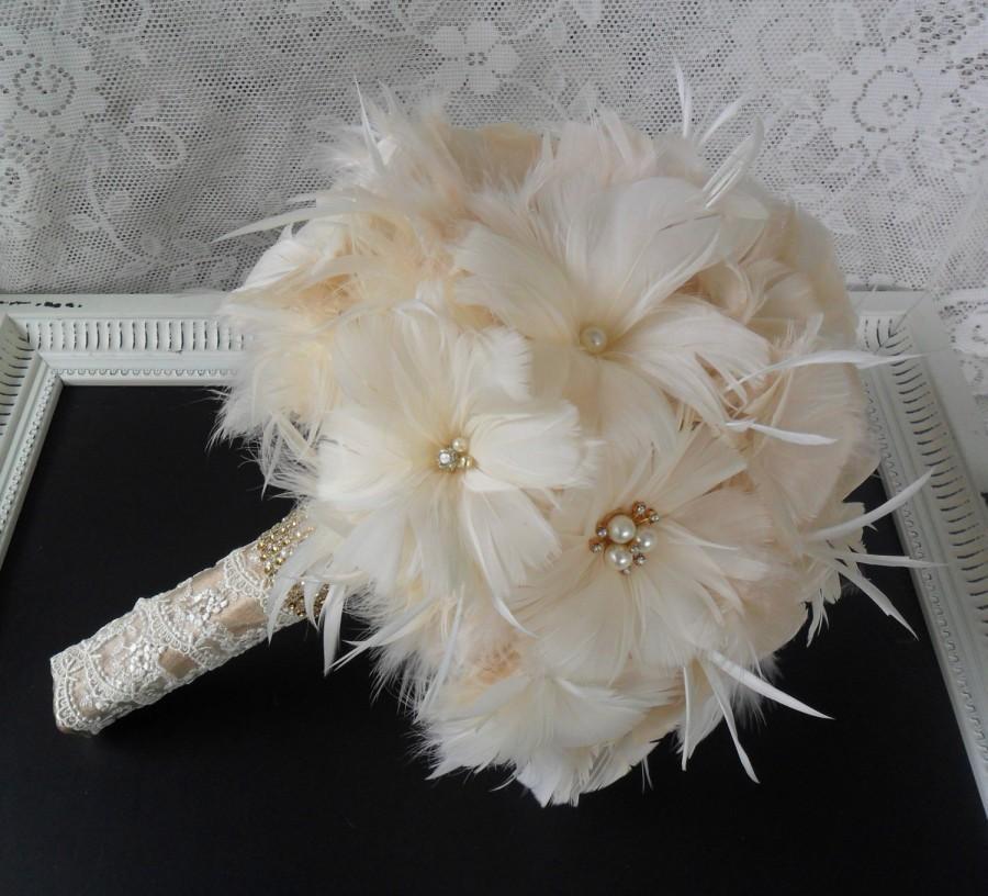 Feather Bridal Bouquet Wedding Bouquet Gold Bouquet