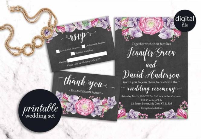 Printable Wedding Invitation Fl Boho