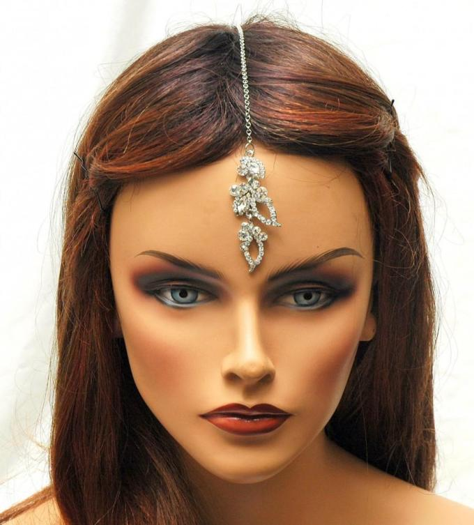 free shipping tikka headpiece, crystal hair chain, prom