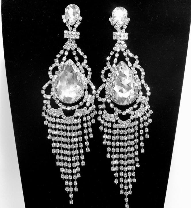 Art Deco Rhinestone Bridal Earrings Free Shipping Long Wedding Prom Silver Diamond Chandelier Earring 30 00 Usd