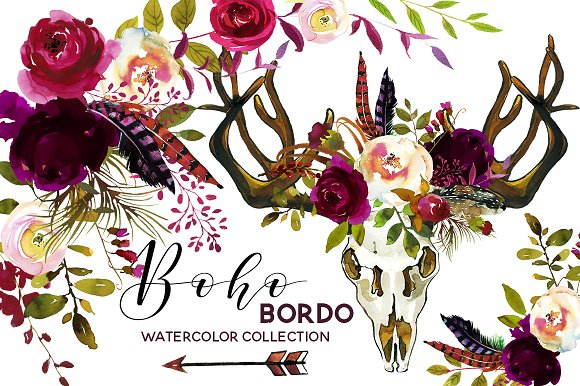 Boho Burgundy Watercolor Flowers  2681217   Weddbook Boho Burgundy Watercolor Flowers