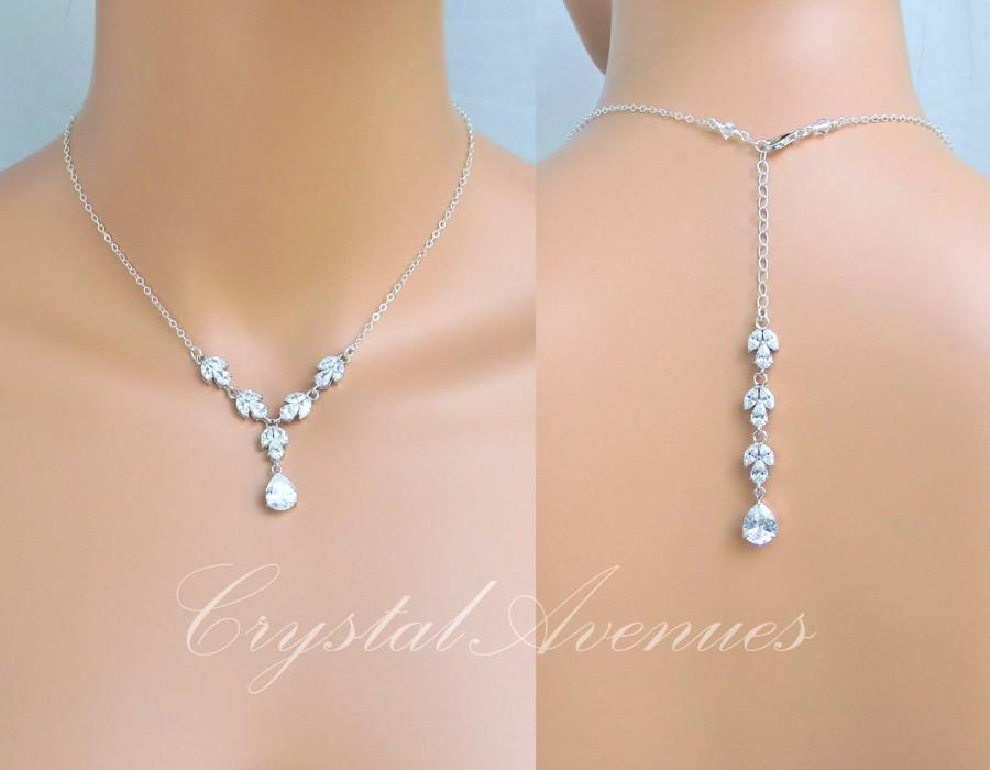 Backdrop Bridal Necklace Simple Crystal Wedding Necklace