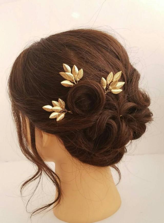 gold leaf hair comb, bridal hair vine, leaf hair pins, leaf