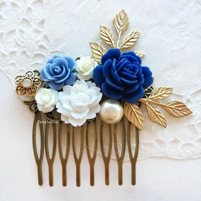 wedding comb navy blue white bridal hair accessories gold