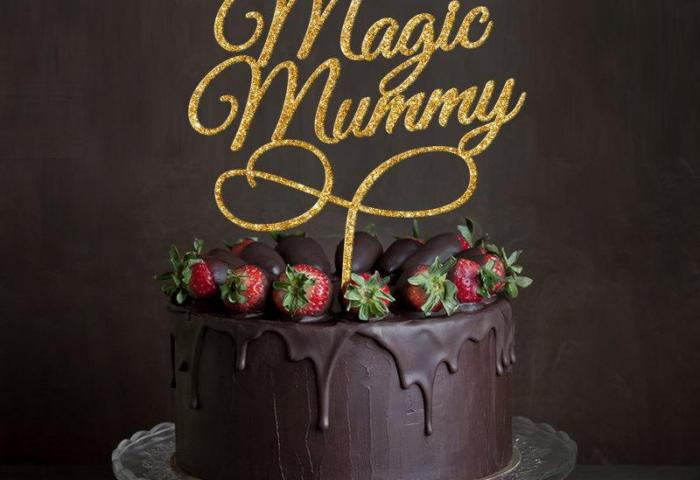 Gold Glitter Magic Mummy Cake Topper 6 In Your Choice Of Glitter