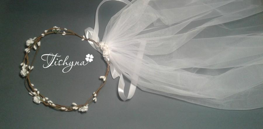 Boho Wedding Wreath Flower Crown Wreath Veil Wreath