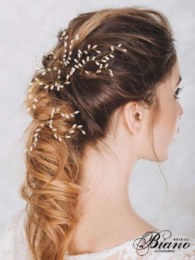bridal hair pins, set of 3 wedding hair pin, pearl bobby