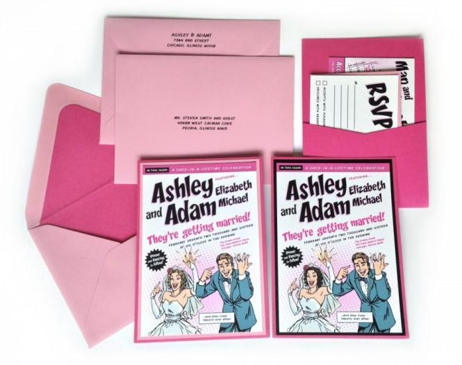 Custom Pink Comic Book Wedding Invitation Kit
