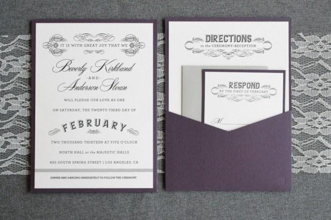 Purple Wedding Invitation Gray Pocket