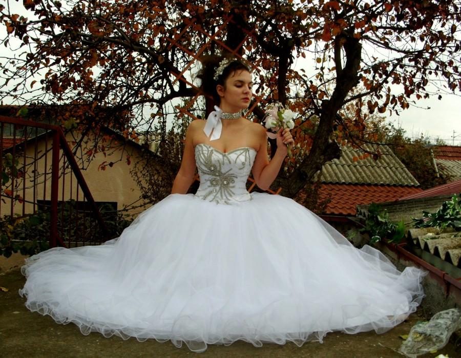 Glamorous Wedding Dress, Hand-Beaded