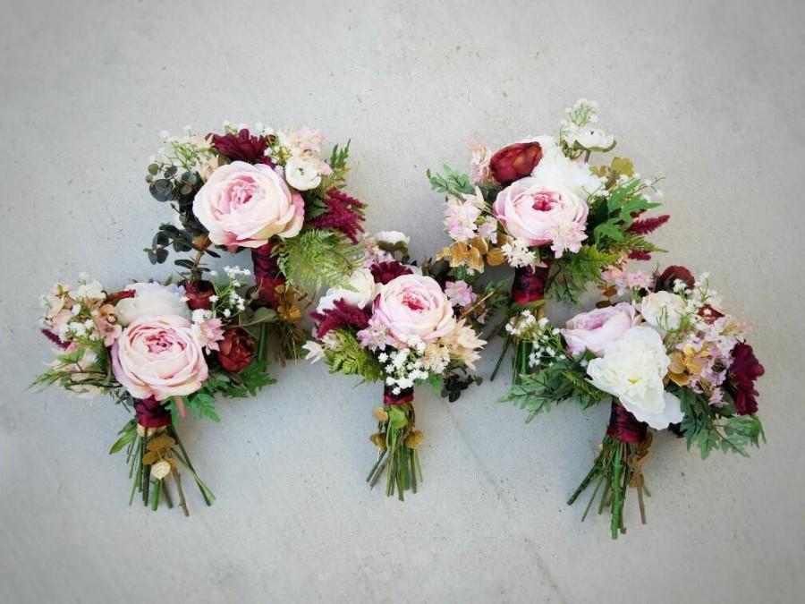 Bridesmaid Bouquet, Wedding Bouquet, Bouquet Set, Silk