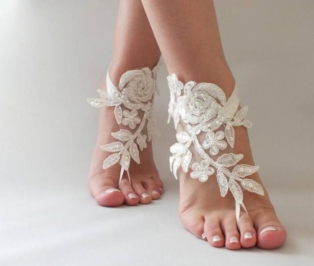 Ivory Beach Wedding Barefoot Sandals Bangle Wedding Anklet Free Ship Bridal Lace Sandals Wedding Gift Bridesmaid Sandals Bridal Anklet   Usd