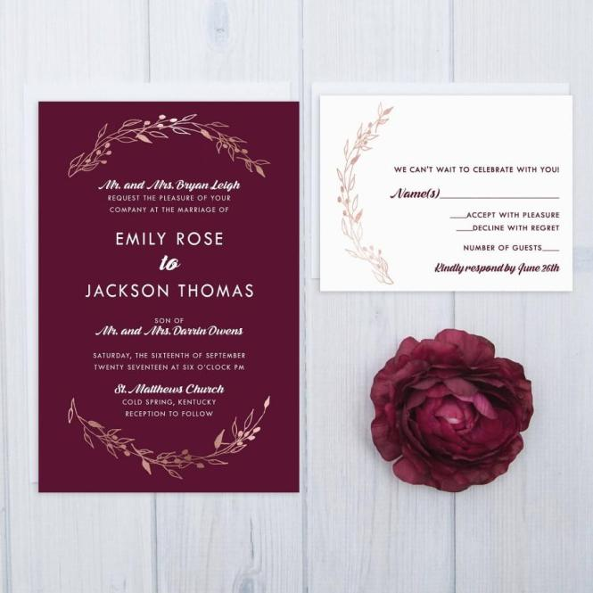 Invitation Burgundy Wedding Invitations 2713154 Weddbook