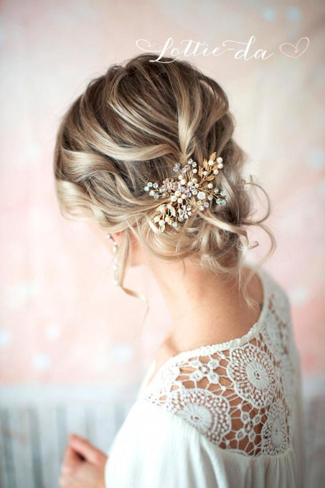 gold boho hair vine comb, bridal pearl flower hair comb