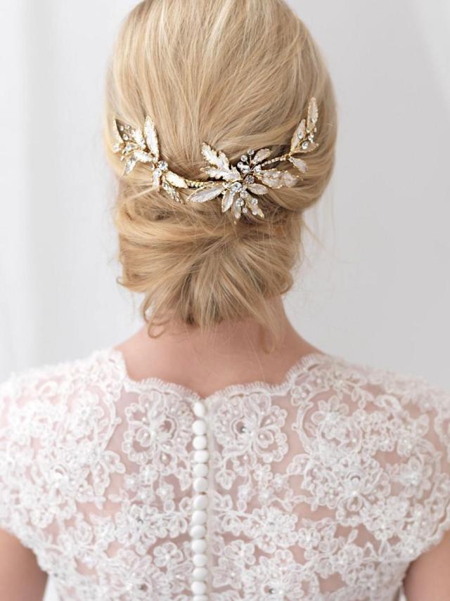 gold wedding hair clip, floral bridal hair clip, gold hair