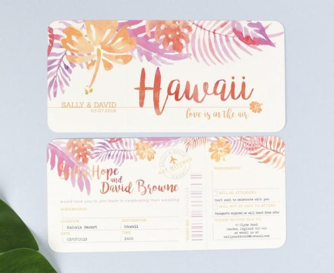 Tropical Airline Ticket Wedding Invitations With Tear Off