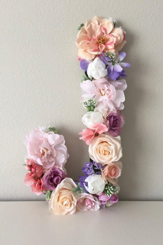 LARGE Floral Letter Boho Flower Letter Boho Wall Art