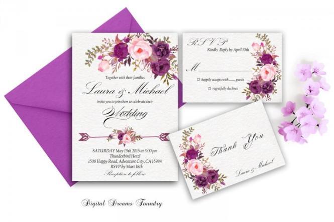 Purple Wedding Invitation Printable Fl Invite