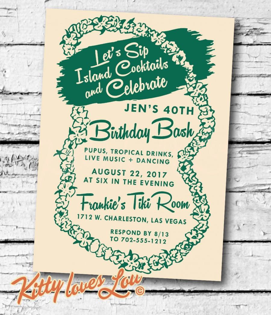 printable birthday party invitation digital pdf lei bridal shower bachelorette hens vintage retro tiki hawaiian luau invite beachy cottage 2722453 weddbook