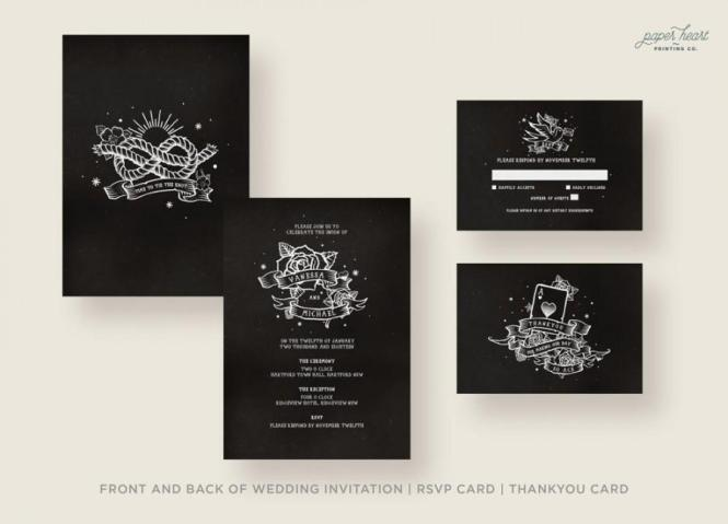 Black Wedding Invitations Vintage