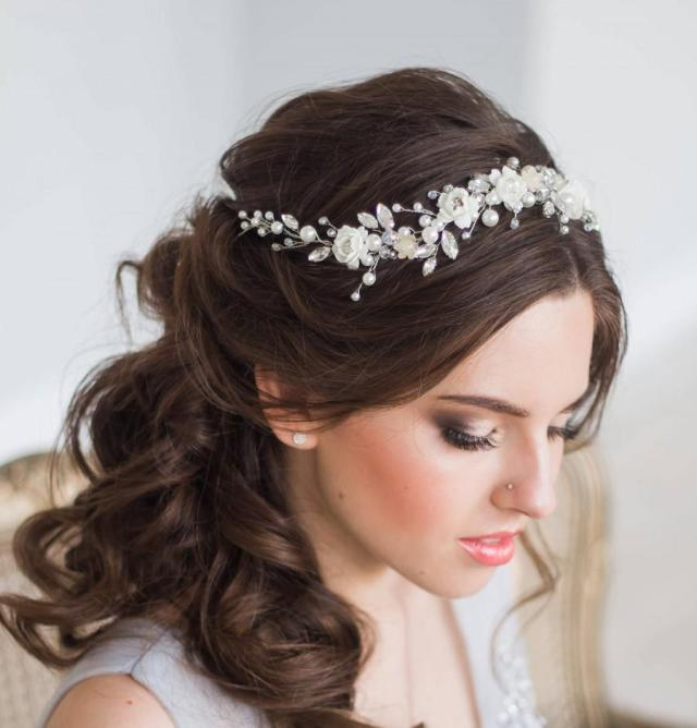 bridal hair vine floral bridal tiara wedding diadem pearl
