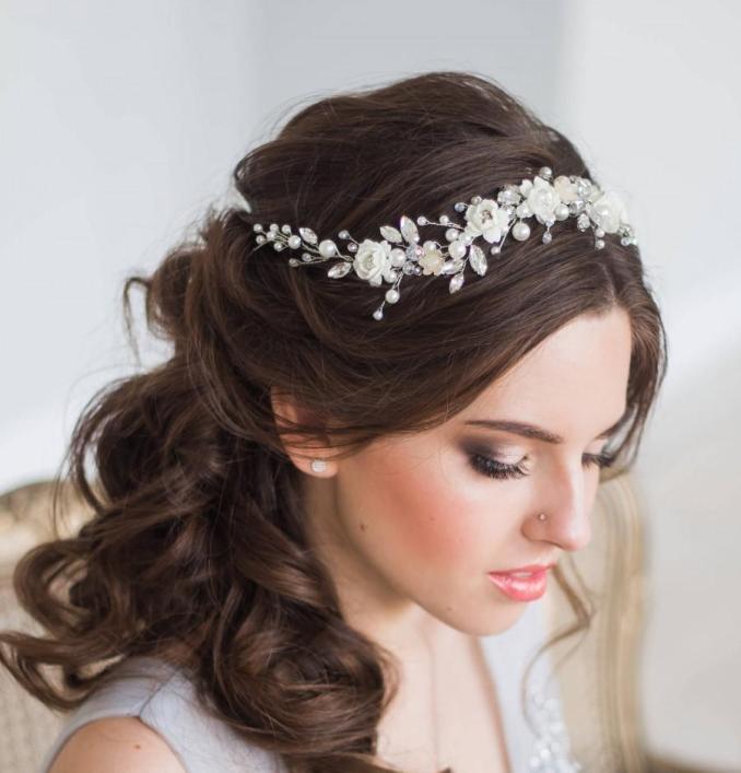 bridal hair vine floral bridal tiara wedding diadem pearl