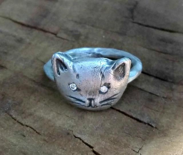 Diamond Cat Ring Rustic Silver And Diamond Kitty Ring Engagement Ring Diamond Statement Ringdiamond Stackable Ring Birthstone Ring