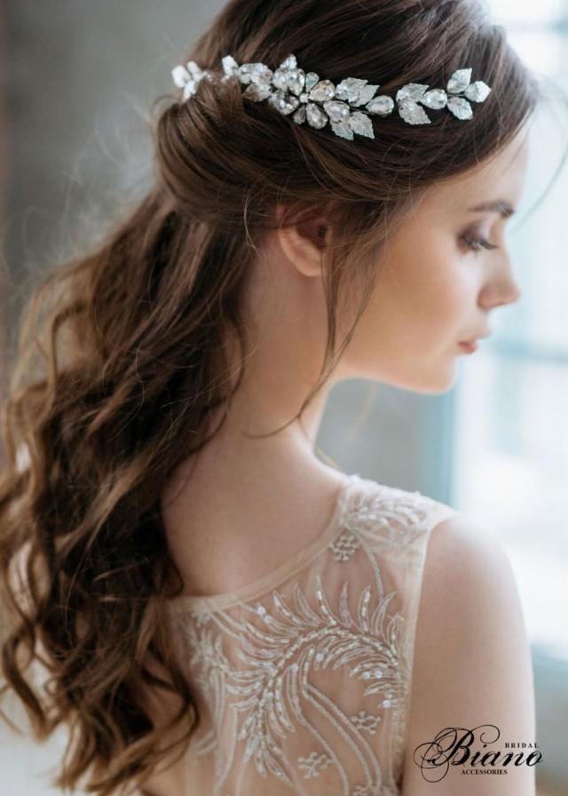 leaf hair comb, wedding headpiece, grecian head piece, greek