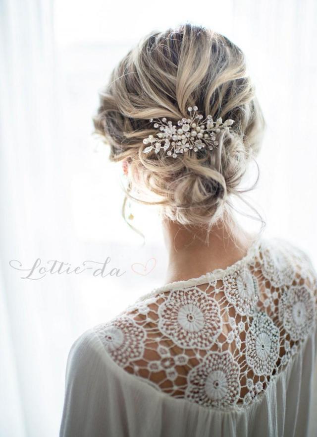 silver boho hair vine comb, bridal pearl flower hair comb