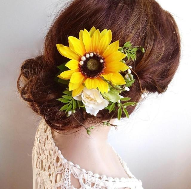 sunflower hair clip, sunflower hair comb, yellow flower hair
