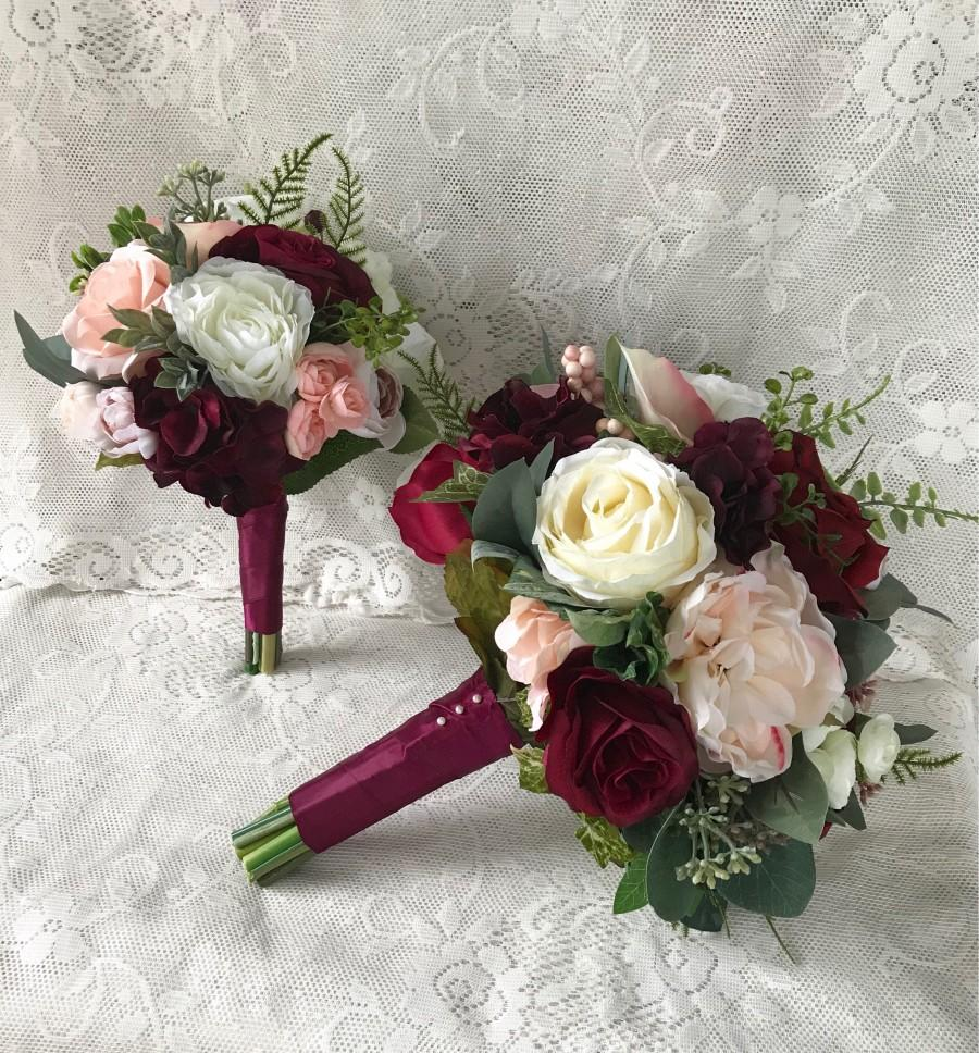 Wedding Bouquet Burgundy Wine Bridal Bouquet Blush Bouquet Silk     Wedding bouquet Burgundy Wine Bridal bouquet Blush Bouquet Silk Wedding  Flowers Burgundy and Blush Bouquet Dusty Pink Bouquet