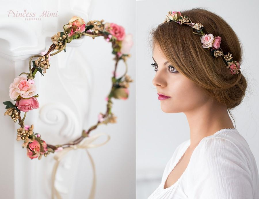 flower crown wedding tiara wedding accessories bridal flowers fairy crown floral garland festival or bridal hair wreath hair flowers