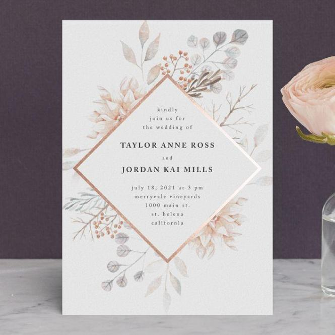 Ascent Customizable Foil Pressed Wedding Invitations In