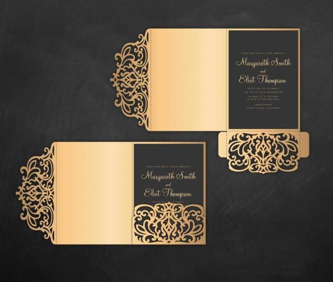 Tri Fold Pocket Envelope 5x7 Wedding