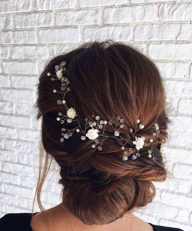rose gold hair vine flower hair garland headband wedding
