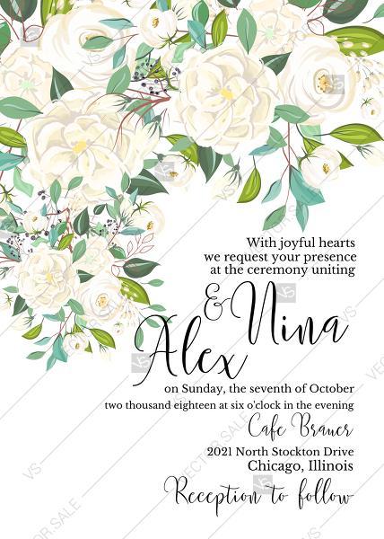 wedding invitation white rose flower card template png 5x7 in online maker 2954689 weddbook
