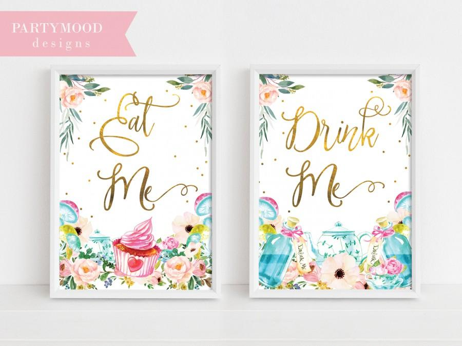 alice in wonderland party signs decor onederland girl s 1st birthday party invitation mad tea party decoration eat me drink me party sign 2974437 weddbook