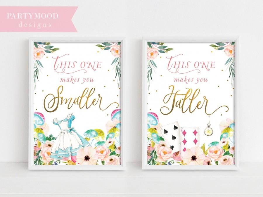 alice in wonderland party signs smaller taller party sign decor onederland girl s 1st birthday party invitation mad tea party decoration 2974442 weddbook