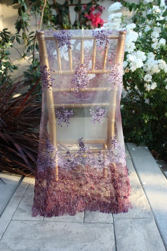 Wedding Bride Chair Cover Purple Bead Work Embroidery