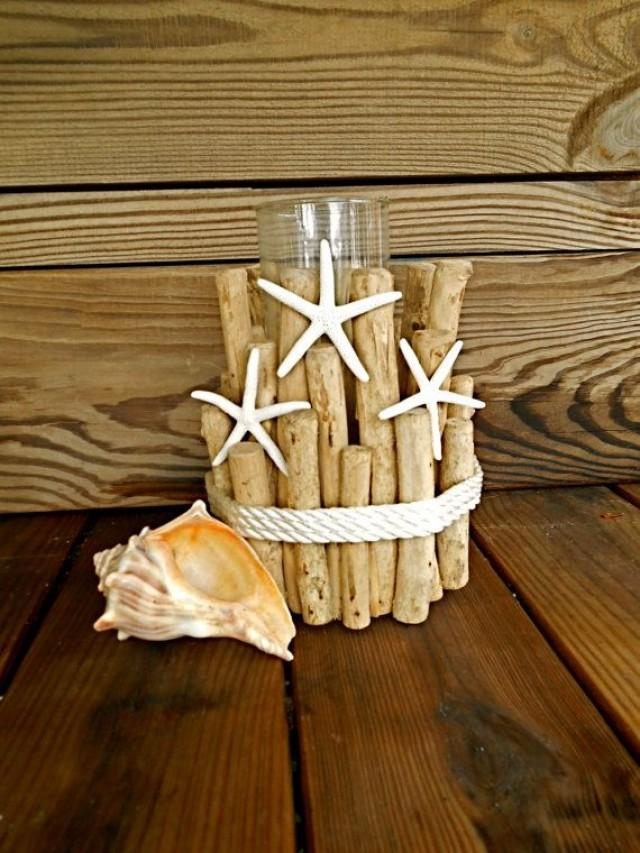 Nautical Driftwood Candle Holder WRope And Starfish
