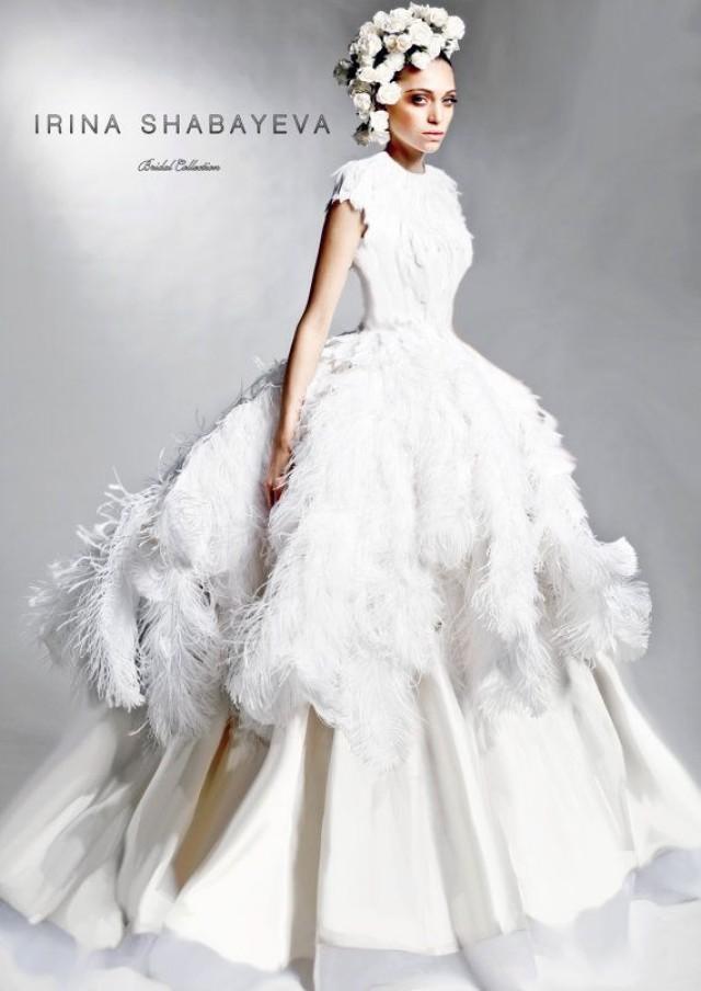 IRINA SHABAYEVA COUTURE Feather Queen Elizabeth Ball Gown