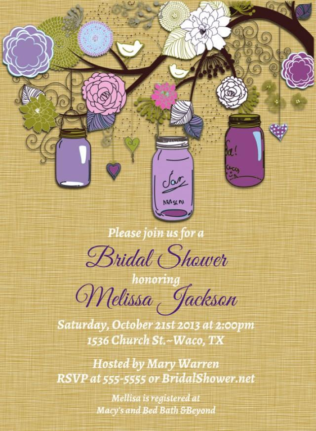 Vintage Mason Jar Invitations Purple Green Invitation