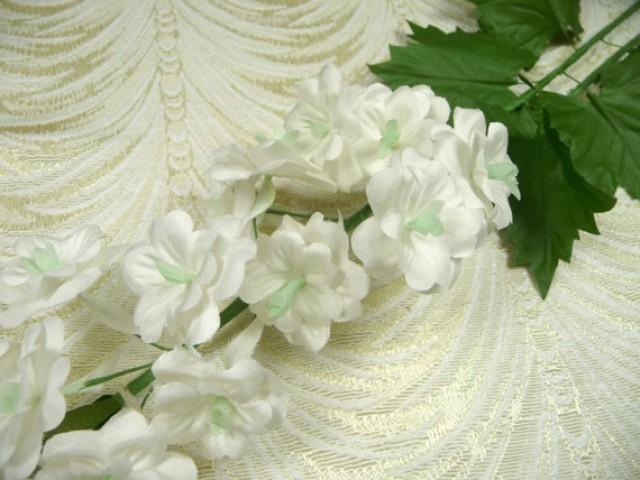 SALE Vintage Delphinium Silk Millinery Flower Spray White