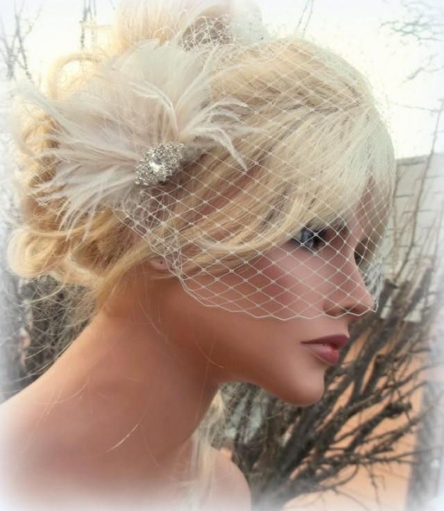 Wedding Fascinator Bridal Veil Vintage Style Brooch