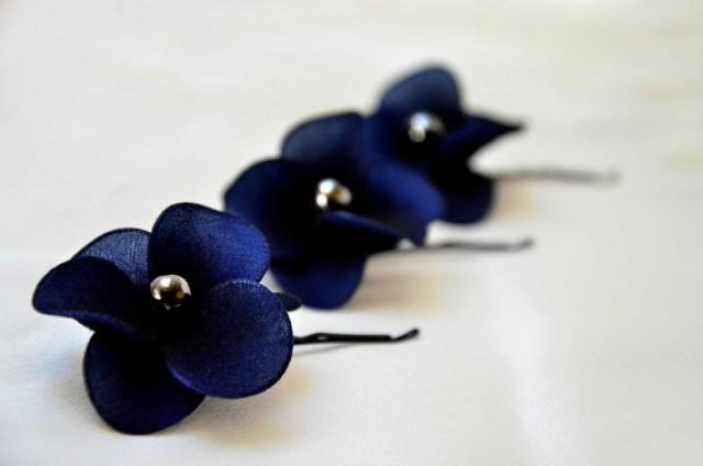 Bridal Hair Pins Set Of 3 Navy Blue Hair Flowers Flower