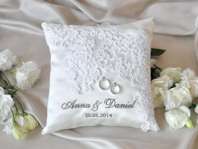 Lace Wedding Pillow Vinateg Ring Bearer Pillow White