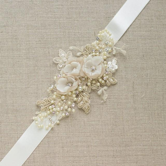 Champagne Bridal Belt Wedding Dress Sash Floral Belt Sash